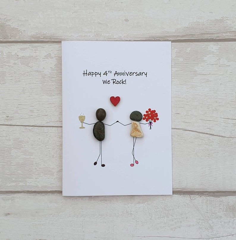 Happy 4th Anniversary Card For Her Handmade Pebble Art Card Etsy Happy 4th Anniversary Anniversary Cards For Couple Anniversary Cards