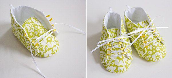 Babyschuhe mit Schnürsenkel- Anleitung und Schnittvorlage