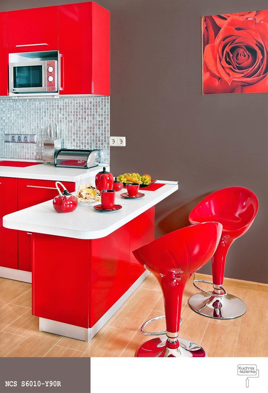 Czerwone Meble Kuchenne Brązowy Kolor ścian Kuchnie W