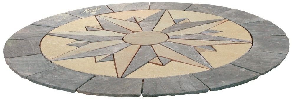 Captivating Each Segment Of This Vintage Manor Compass Decorative Patio Paving Circle  Is Hand Cut From 3 Colours Of Natural Sandstone And The Completed Design  Measures ...