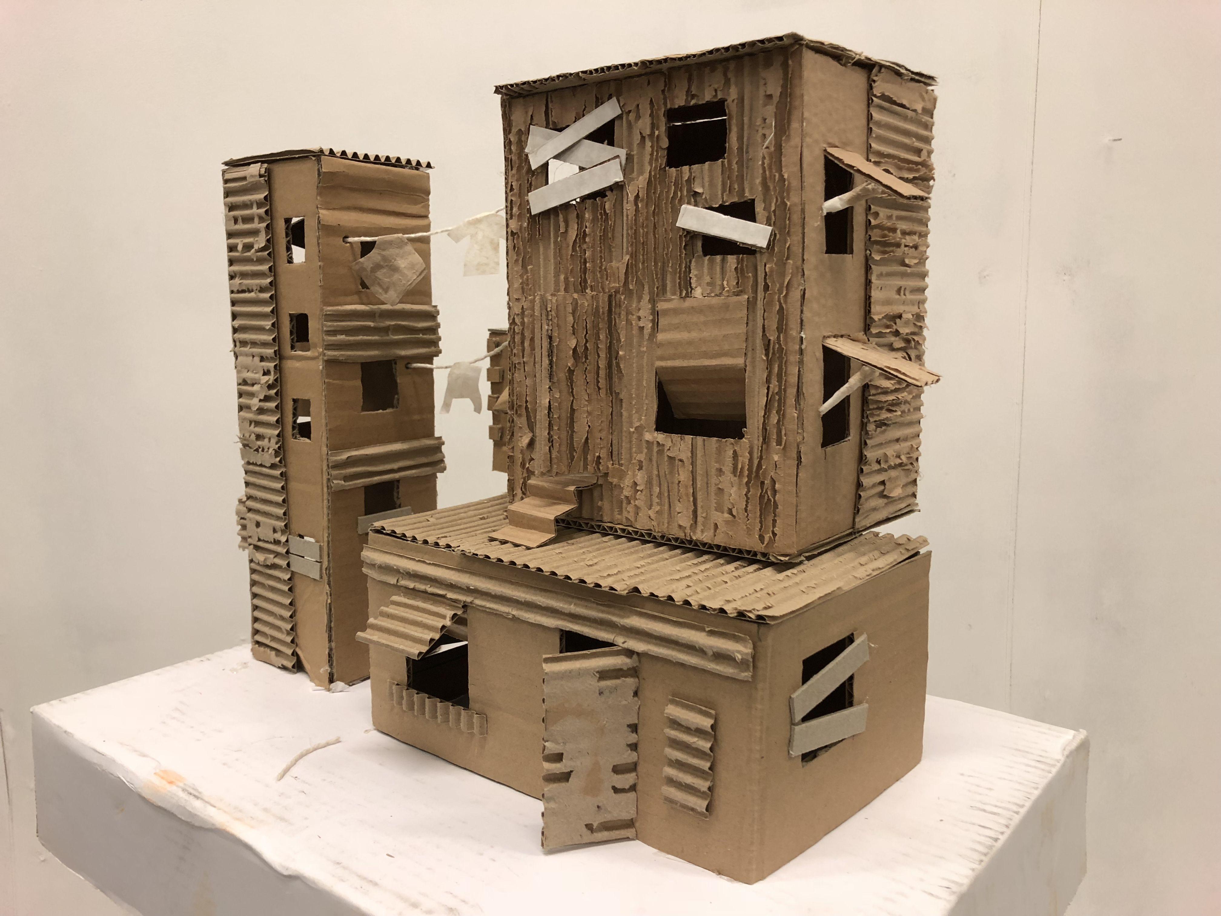 Cardboard Favela Housing Architecture Model Sculpture
