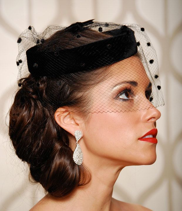 Birdcage Veil Black Wedding Hat Bridal Head Piece Cocktail Hat Rockabilly Vintage 1940