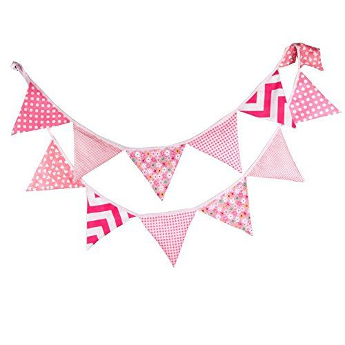 G2PLUS Lovely Bunting 10.8 Feet Flag Banner Pennant Flag Garlands Fabric Triangle Flags Double Sided Vintage Cloth Shabby Chic Decoration for Birthday Parties Ceremonies Kitchen Bedrooms