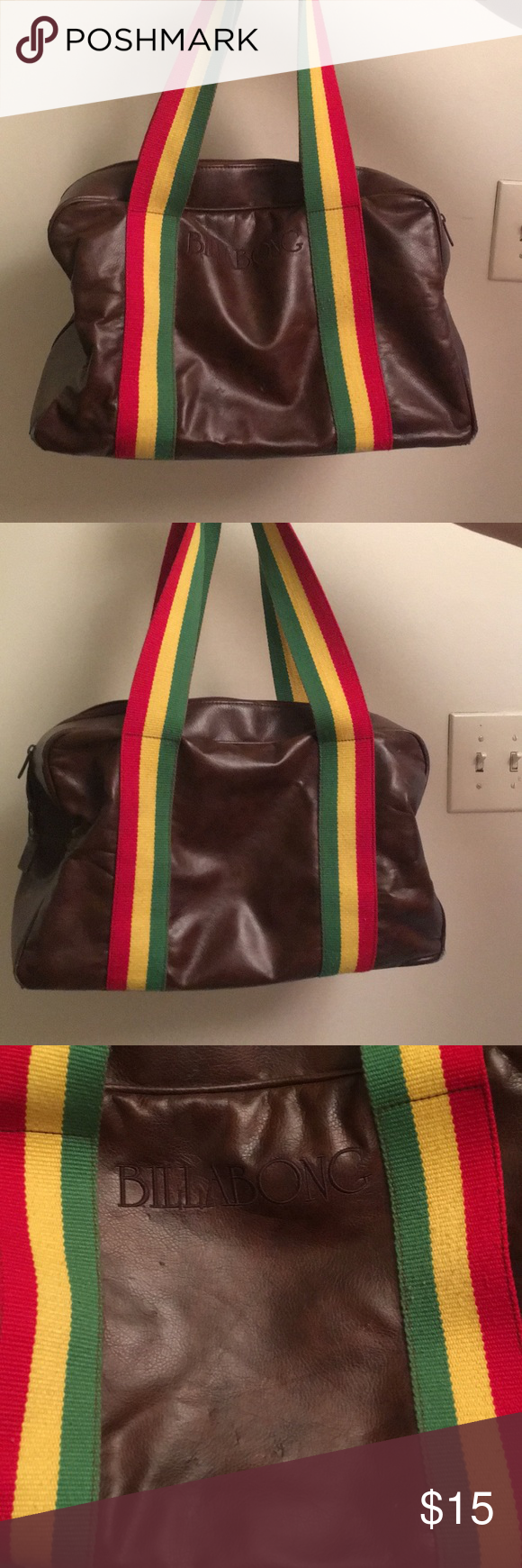 9699aae1f5db BILLABONG  Rasta tote bag BILLABONG  Brown faux leather with Rasta straps.  This bag has travelled the world and it shows! Wear and tear on bottom  corners ...