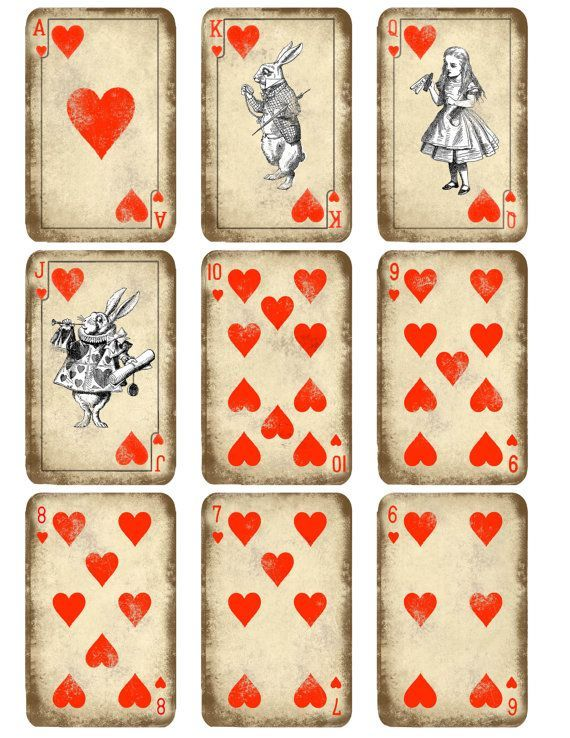 photo regarding Playing Card Printable named Kitty Participating in Playing cards Printable Alice in just Wonderland perform