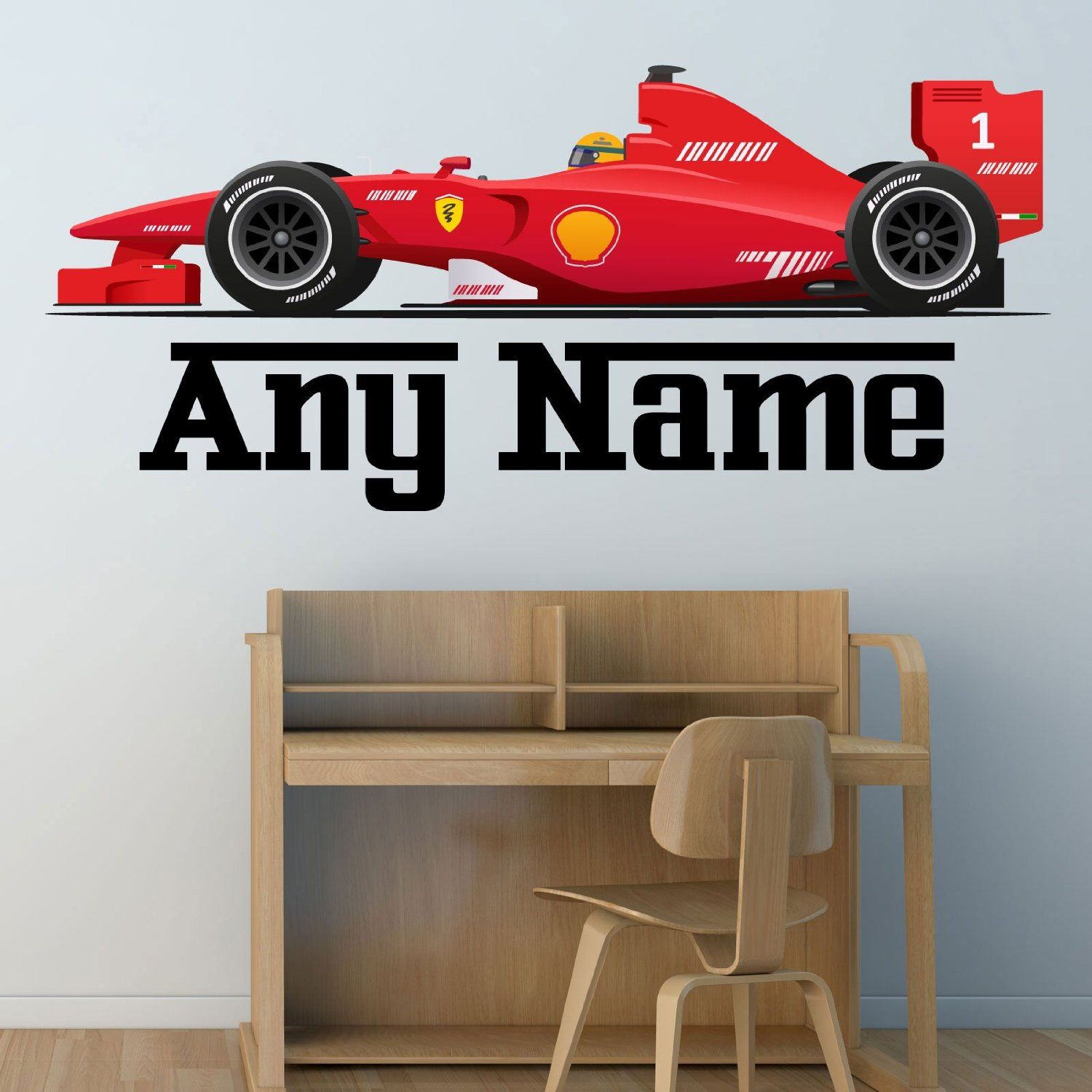 Personalised formula one racing car wall sticker decal full personalised formula one racing car wall sticker decal full colour boys bedroom nursery extra amipublicfo Choice Image