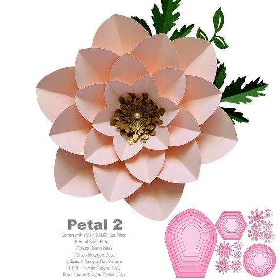 SVG Petal 2 Cut Files Cricut and Silhouette machines ready #paperflowerswedding