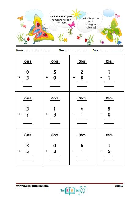 Kindergarten Column Addition 1 | IPP | Pinterest | Kindergarten ...