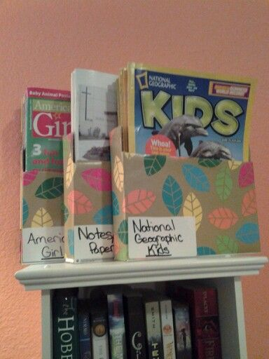 Cut and cover old boxes to use as magazine holders.