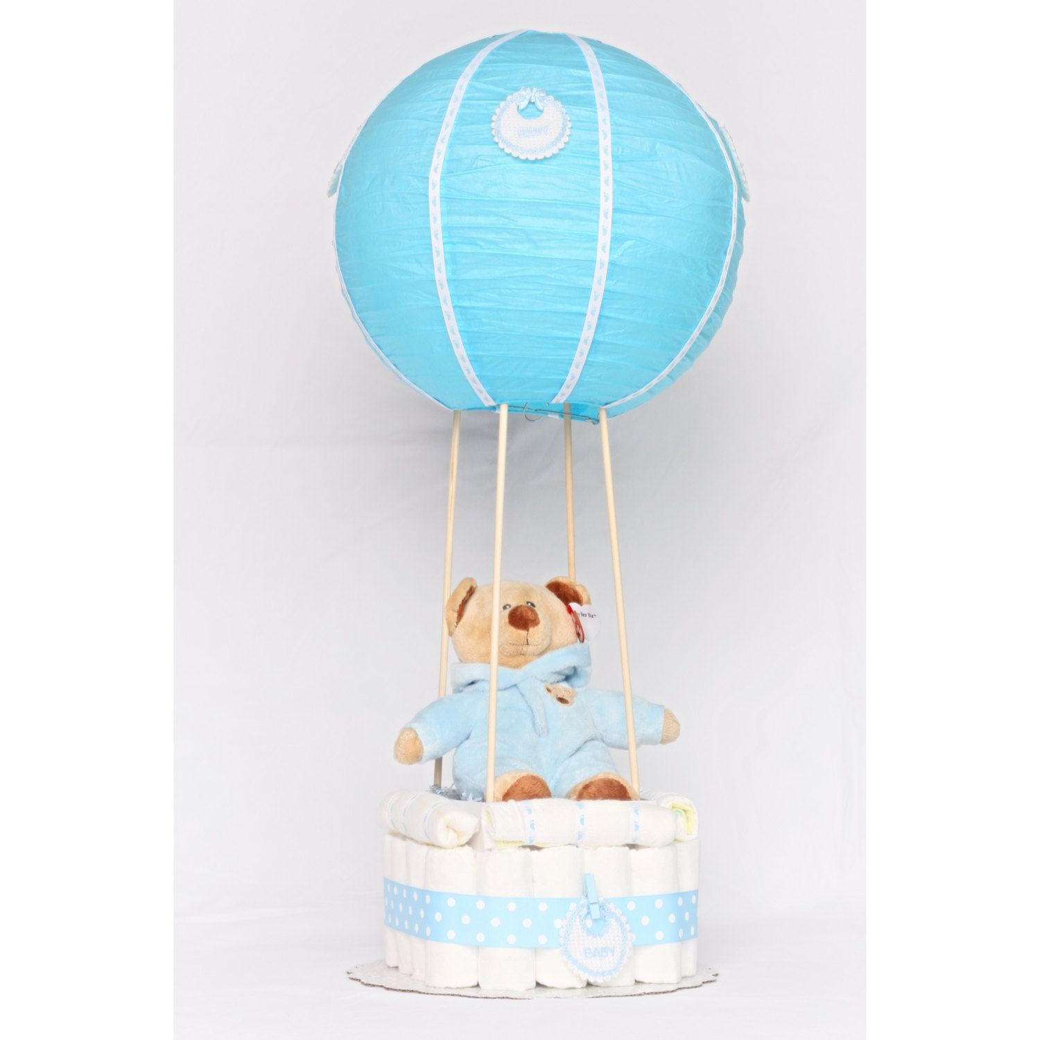 Hot air balloon diaper cake.! Up up and away! Unique cake for the