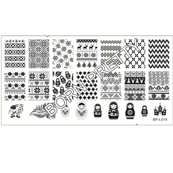 Russian Doll Sweater Pattern Nail Art Stamp Template Image