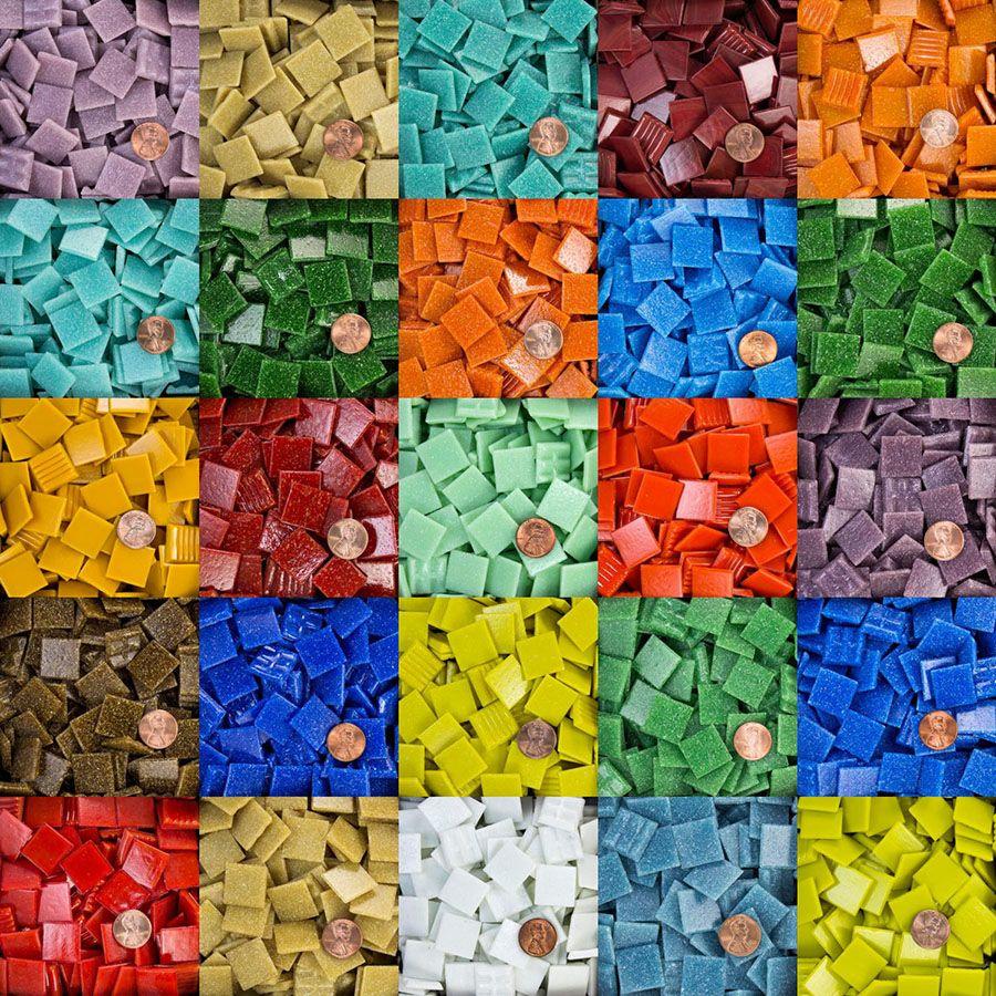 3//8 inch DARK BLUE Vitreous Glass Mosaic Tiles 100 Tiles
