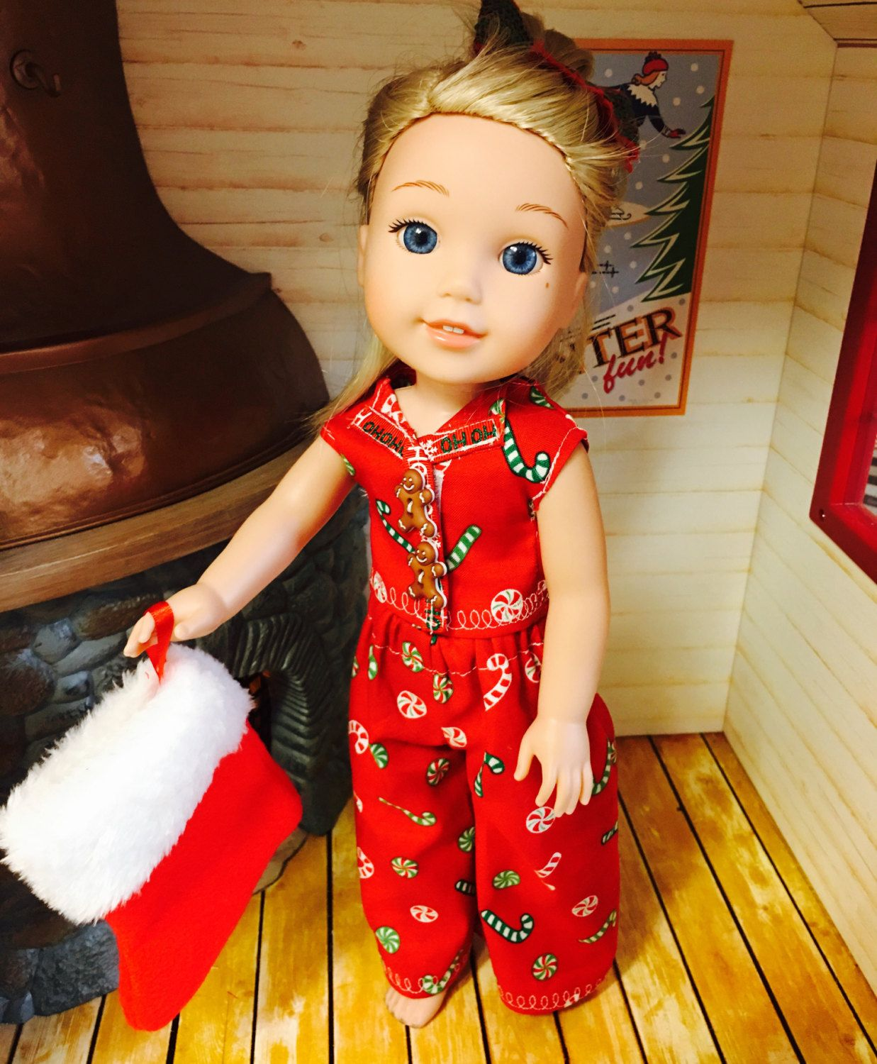PAJAMA TOP PANTS OUTFIT  FOR 14 IN WELLIE WISHERS DOLLS AMERICAN GIRL CLOTHES