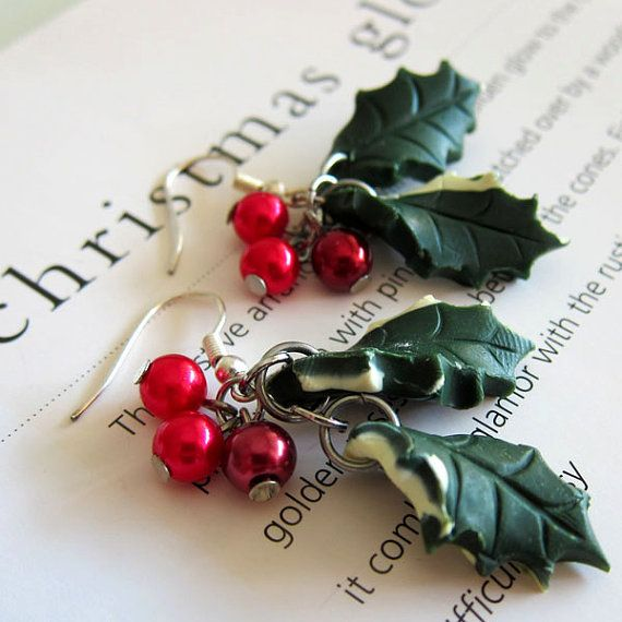 Polymer Clay Christmas Jewelry.Christmas Holly Earrings Polymer Clay Diy Jewelry