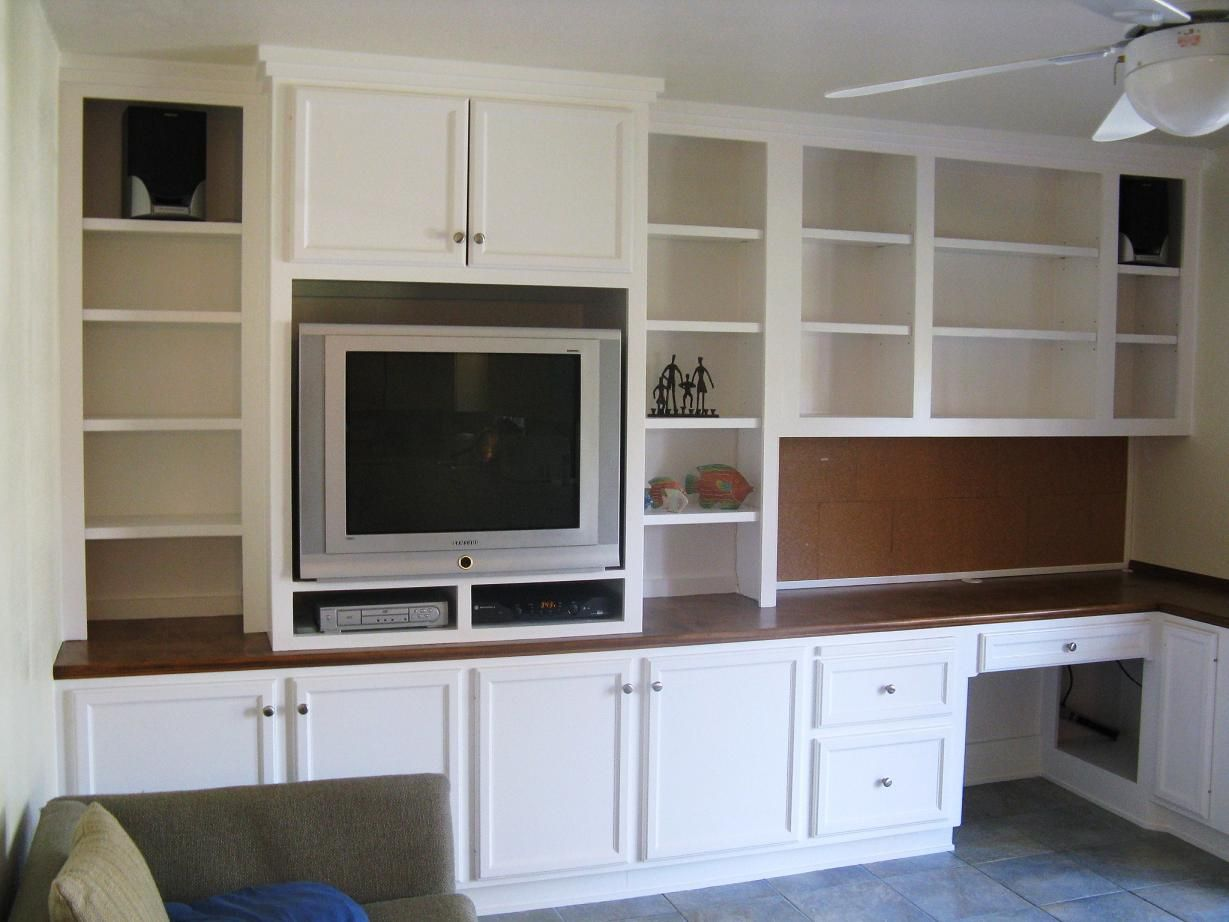 Built-in Desk & Entertainment Center - This with a smaller desk ...