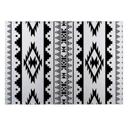 Kavka Black/White Indoor/Outdoor Area Rug Rug Size: