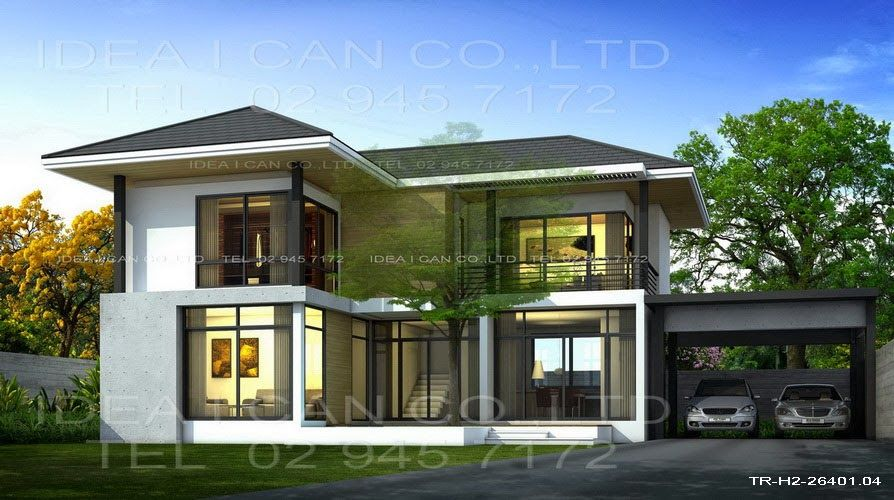 Modern 2 storey house plans with garage google search for Small house design thailand