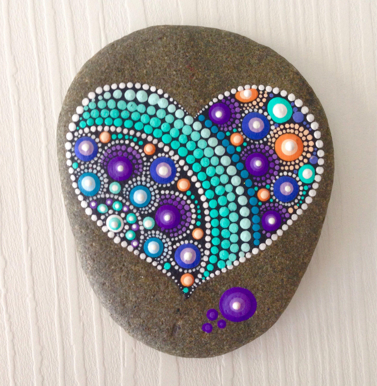 Coeur de roche Dot Art Mandala peint Pierre fée jardin cadeau ...