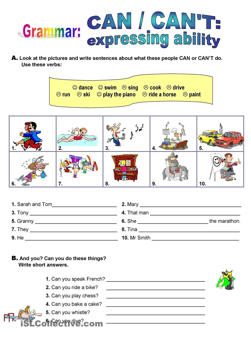 Teacher S Worksheets : Can expressing ability worksheet free esl printable