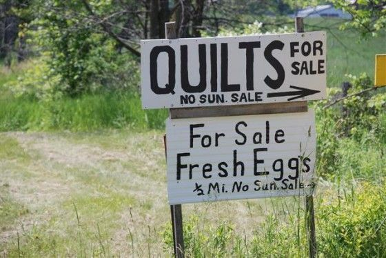 signs like this are at the side of the road. No Sunday Sales! ........Amish Life