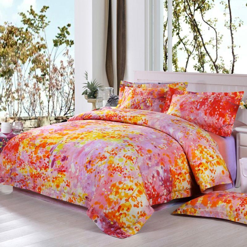 Cheap Blaze Orange Camo Twin Full Queen Size Bedding Sets Satin