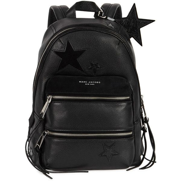 Marc Jacobs Star black appliquéd leather backpack (36,445 PHP) ❤ liked on Polyvore featuring bags, backpacks, leather knapsack, leather zipper backpack, leather bags, leather daypack and zipper bag