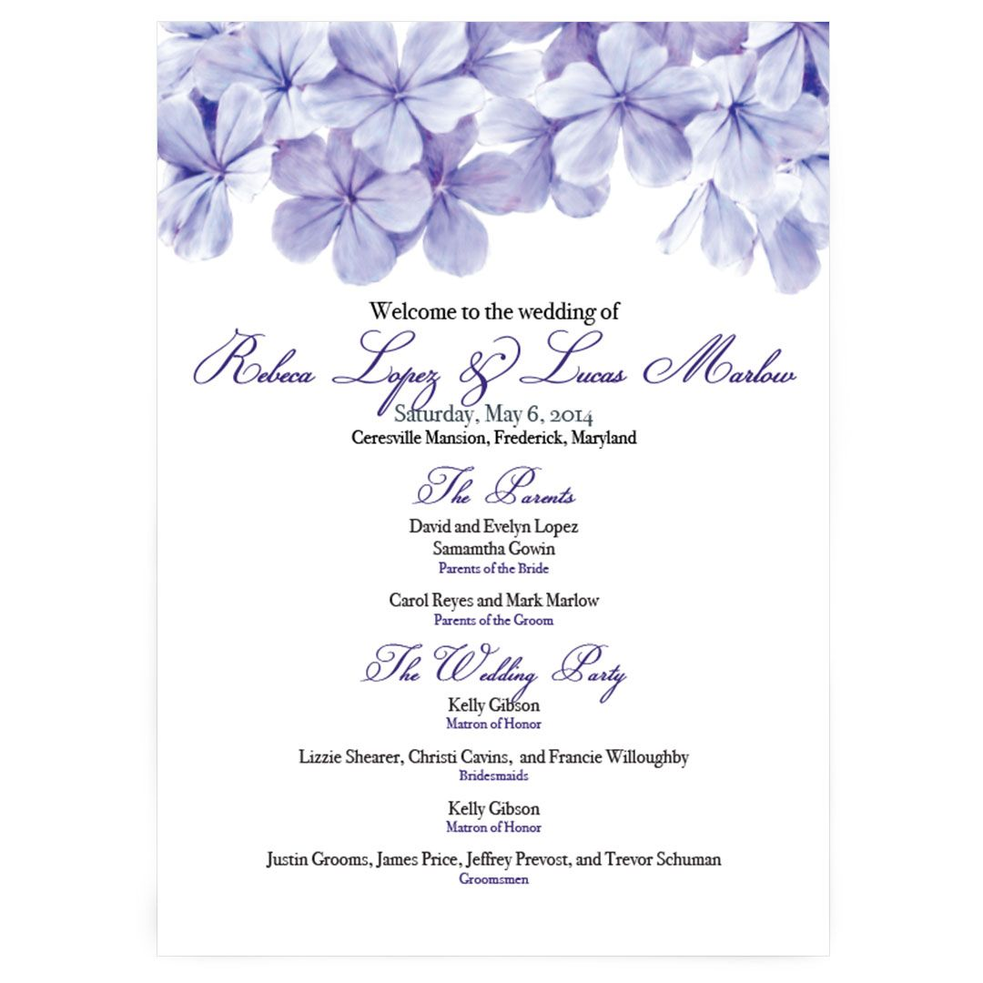 Small Ceremony Big Reception Invitations: Plumbago Floral Wedding Ceremony Program
