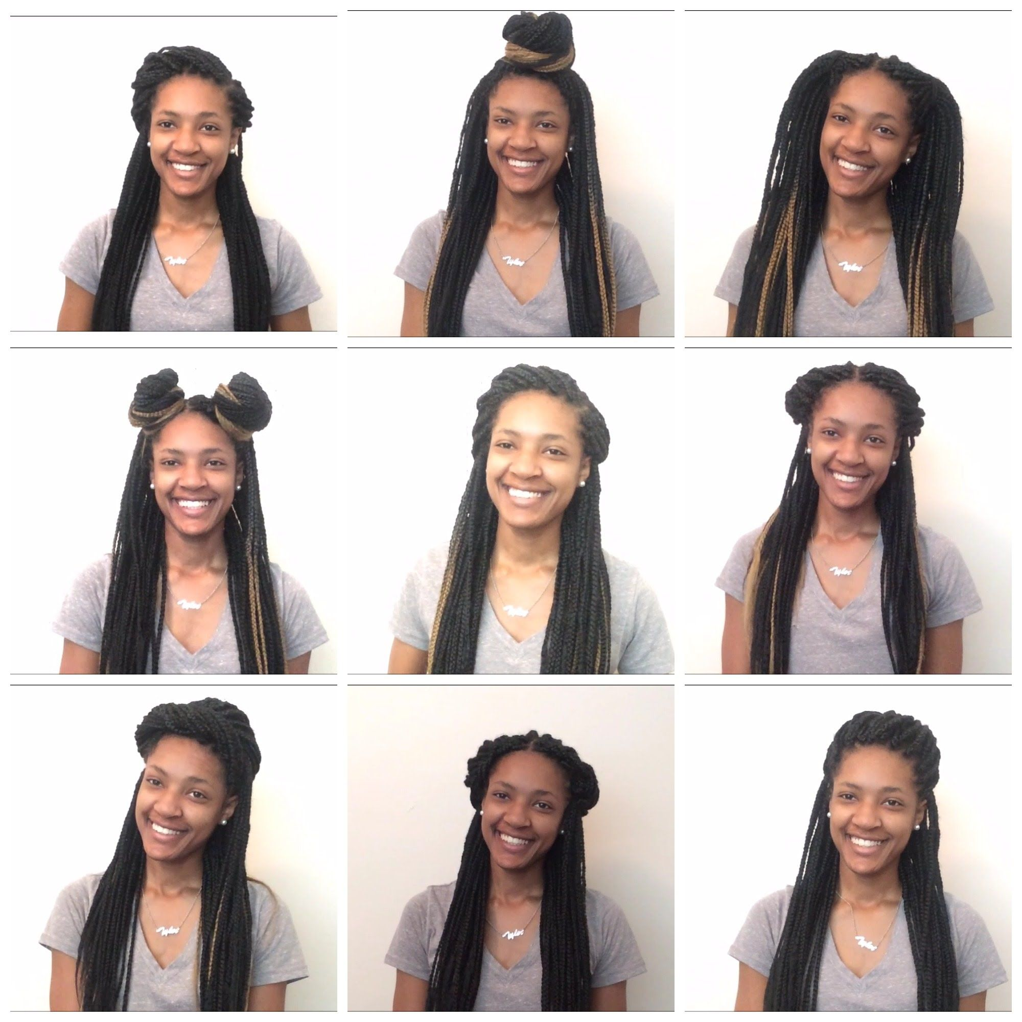 10 easy box braid hairstyles | half-up half-down | youtube