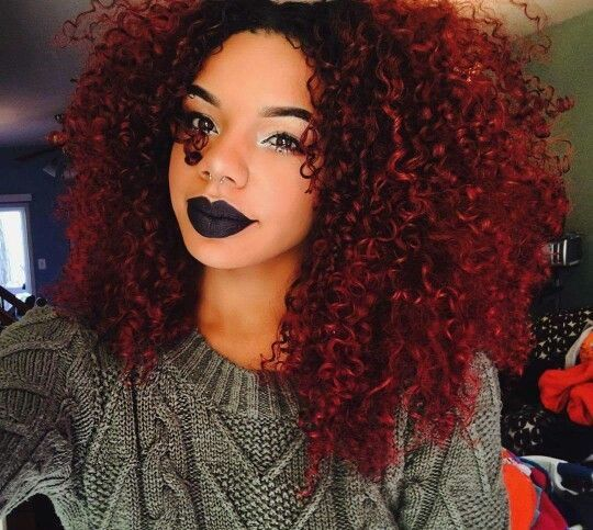 Intense Red Natural Hair Styles Burgundy Red Hair Red Curly Hair