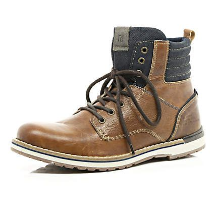 brown contrast panel military boots 15000  men's