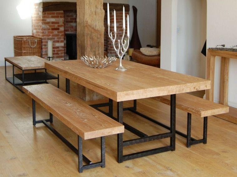 table de salle manger en bois recycl avec banc
