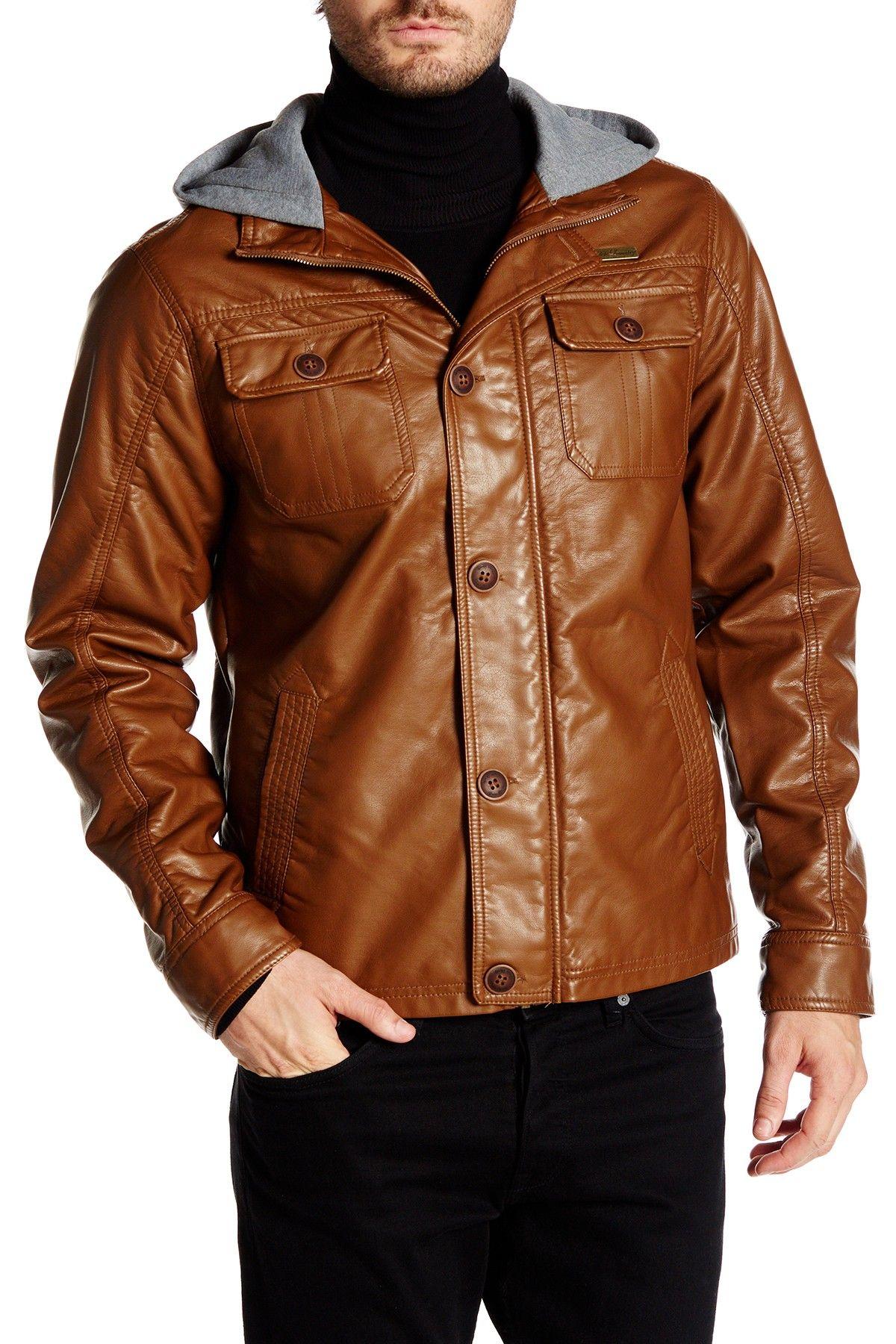 English Laundry Faux Leather Hooded Jacket Leather Jacket With