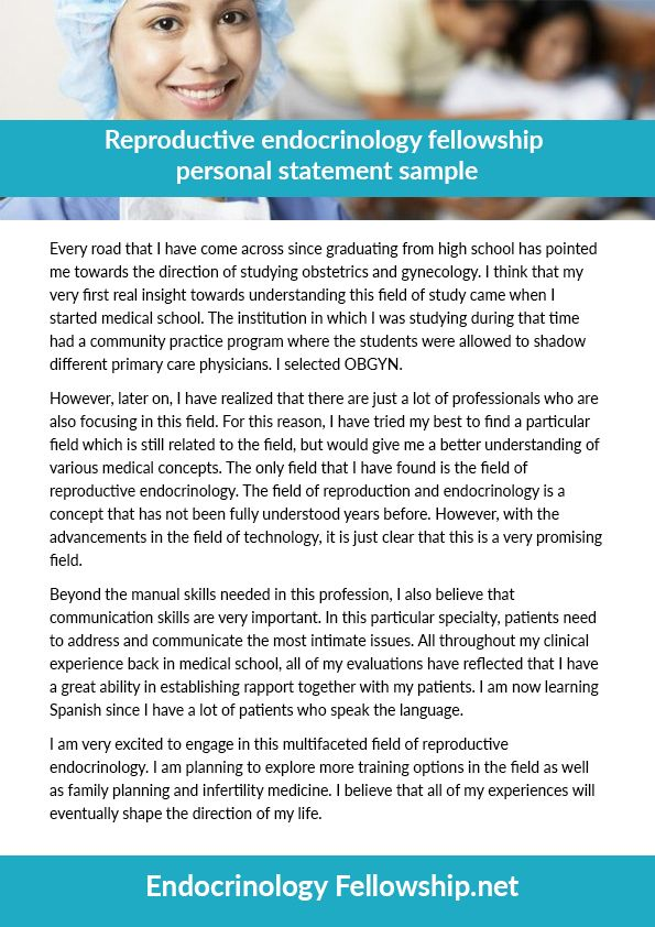 reproductive endocrinology fellowship personal statement sample