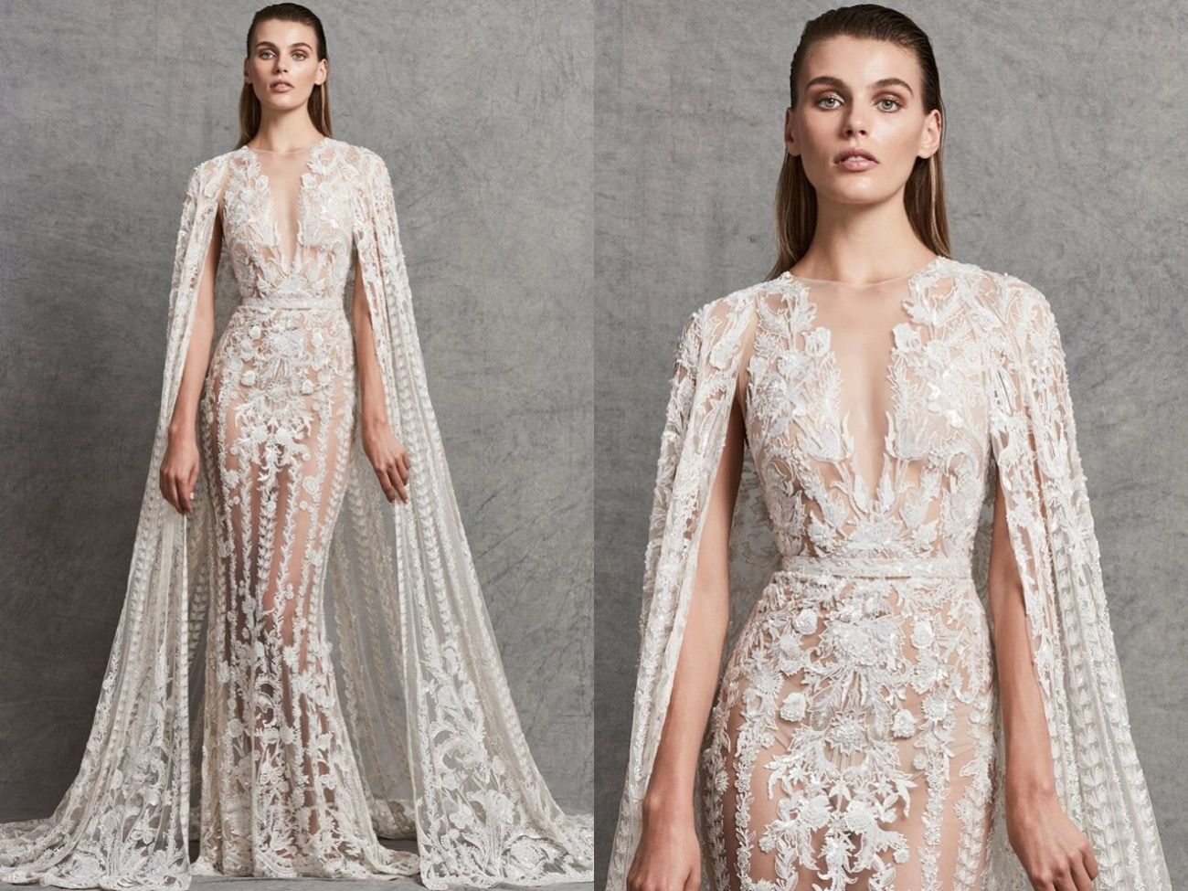 Zuhair Murad This Sensation Mermaid Tulle Dress Features Sparkling Beaded Embroidery Details Allover D Embellished Wedding Dress Cape Wedding Dress Dresses [ 975 x 1300 Pixel ]