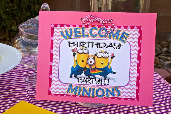 Pink Girls Minion Birthday Party Essentials Pack FULLY ASSEMBLED