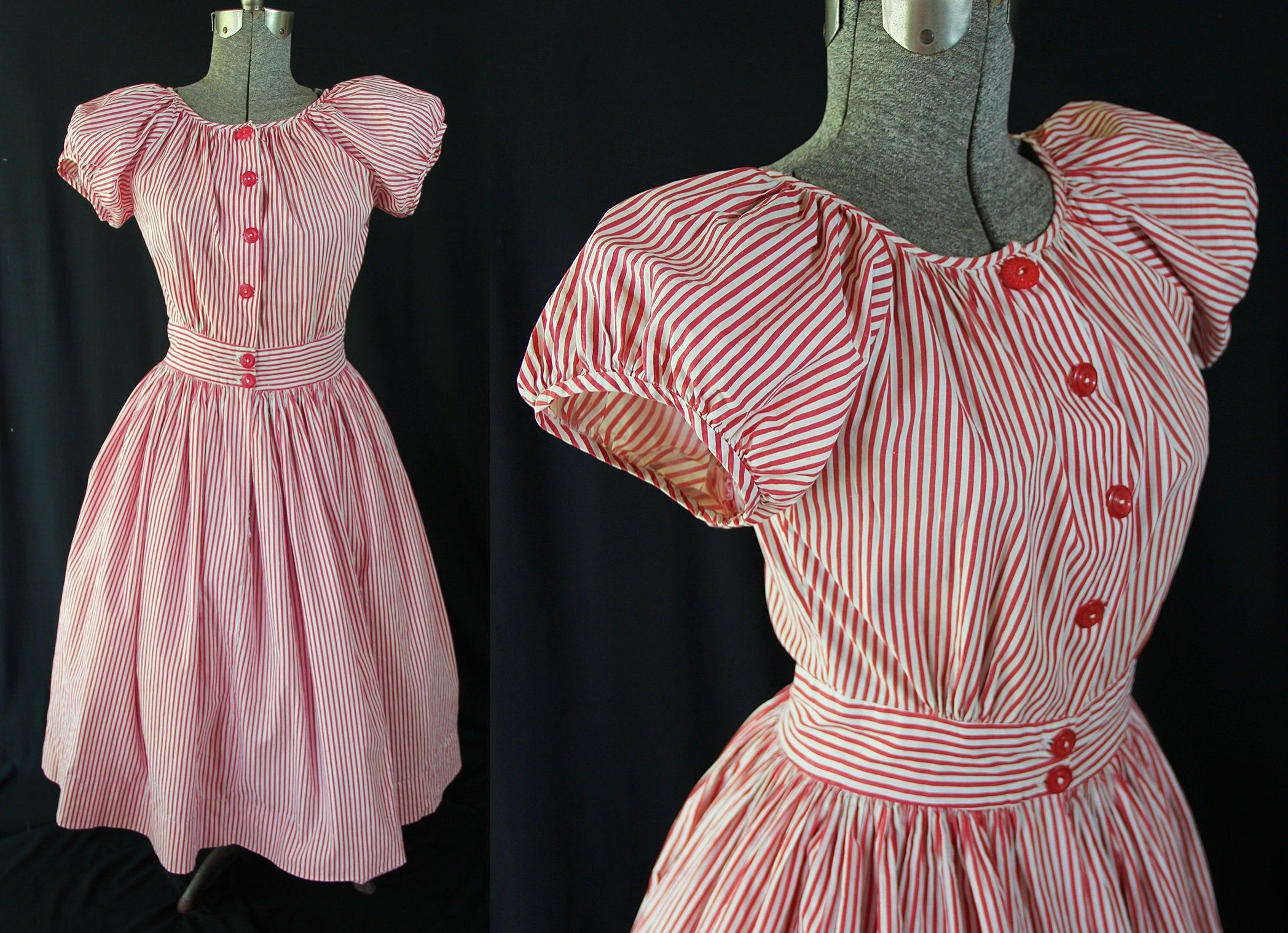 Vintage Late 1940s 1950s Black And Pink Print Dress Swing Rockabilly Fit And Flare