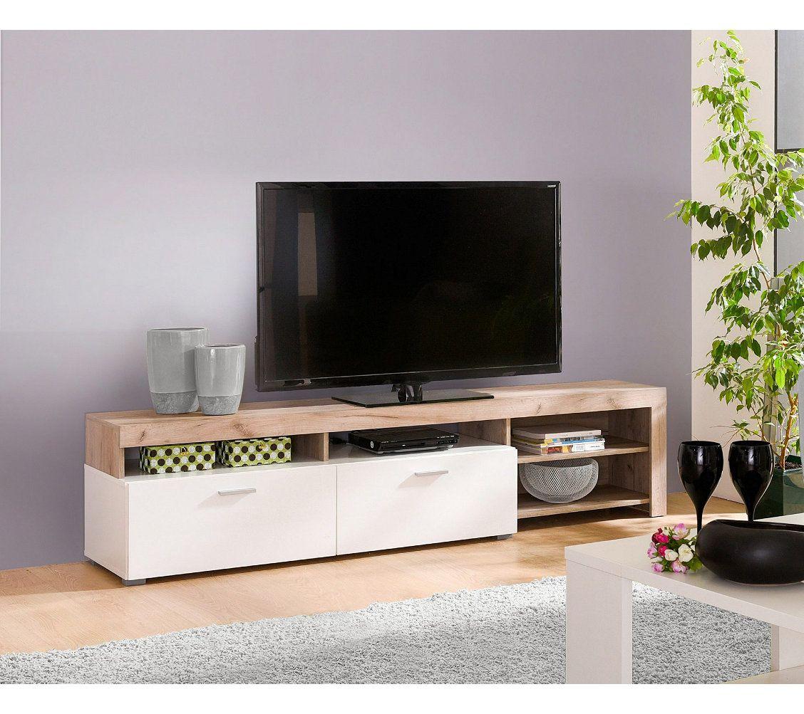 R Sultat De Recherche D Images Pour Meuble Blanc Laqu Et Bois  # Table En Bois Pour Tv Ecran Plat