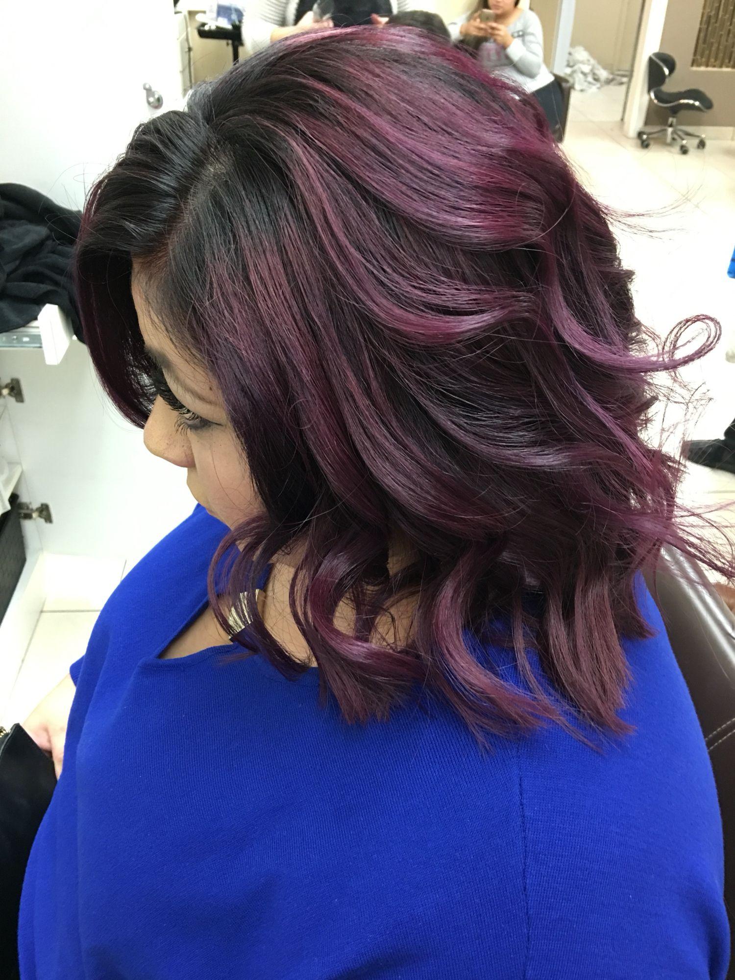 Violet red ombré short hair Hair Pinterest