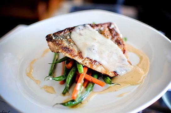 Salmon w/ Lemon Cream Beurre Blanc & Sauteed Vegetables