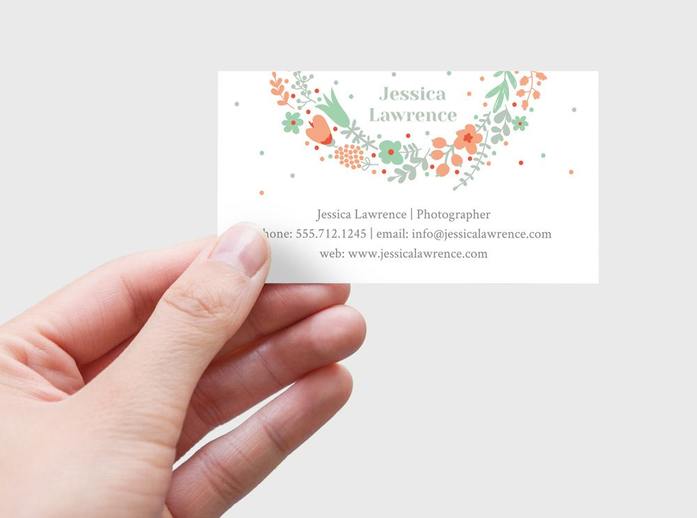 A beautiful diy printable business card with floral wreath