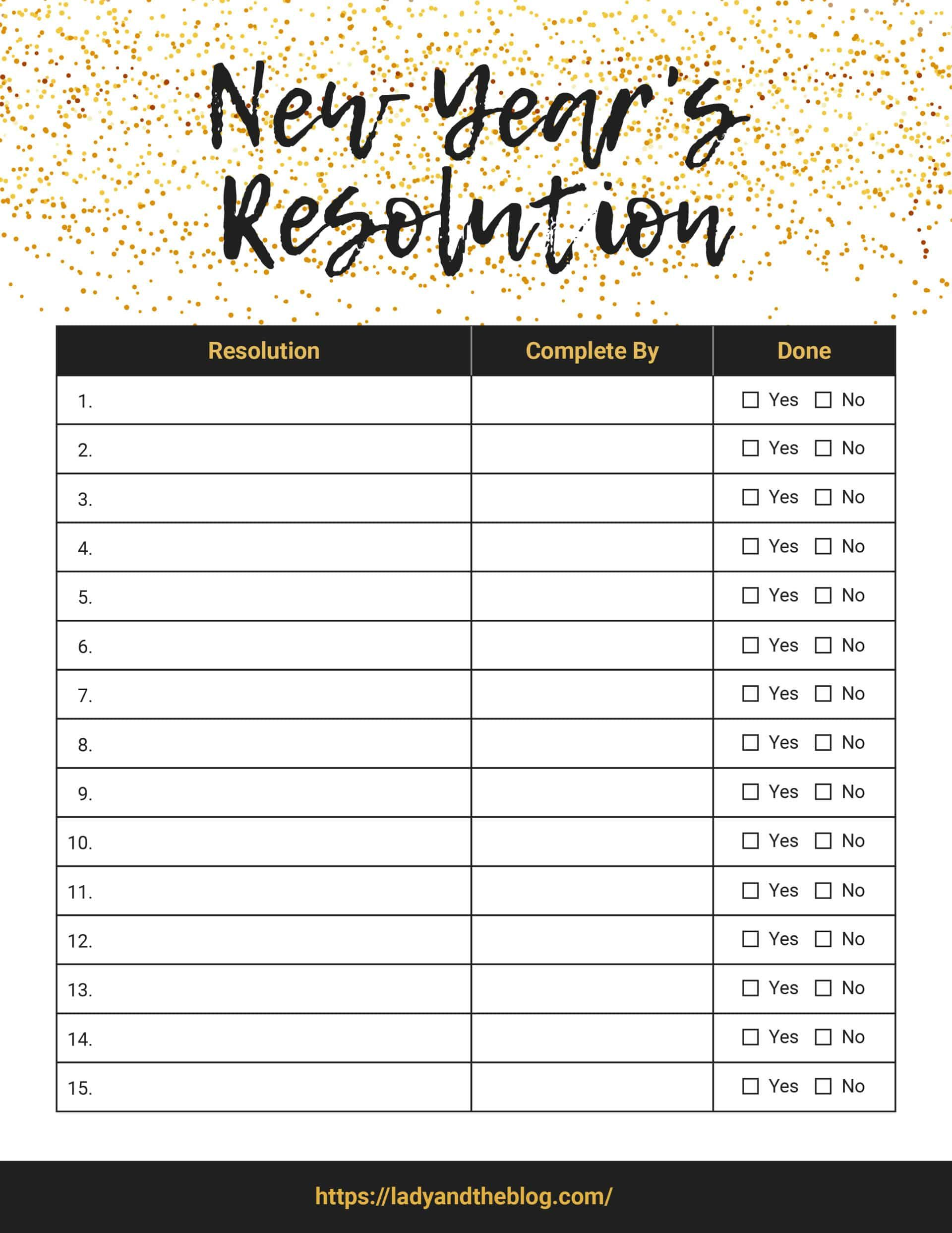 New Year S Resolution List