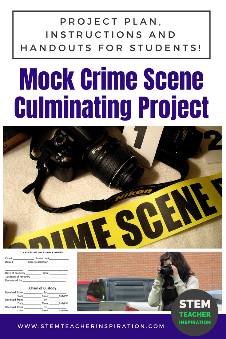 Mock crime scene project for forensic science students includes