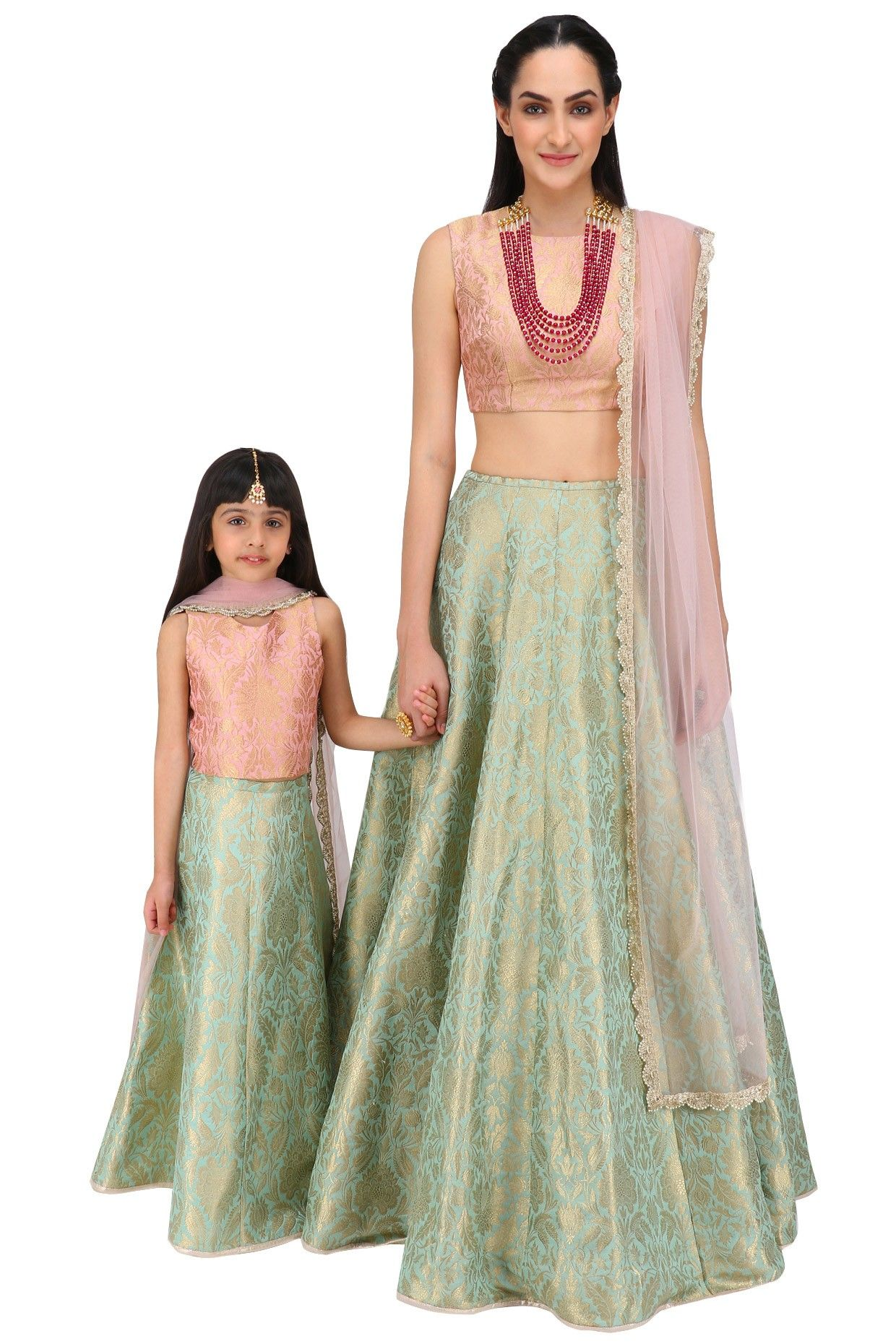 dda8cef41f Mother and Daughter dusky rose and mint lehenga set available only at  Pernia's Pop Up Shop.