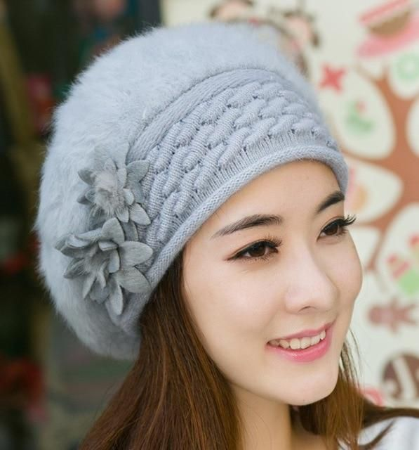 0698dd7cd73d53 beautiful women winter fur hat cap Set flowers Caps Lady Headgear warm Beanies  Women's Winter Hats Rabbit Fur Knitted Beanies