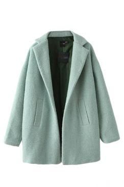 Turquoise Pretty Ladies Wool Turndown Collar Plain Winter Tweed Coat on  sale at… 944067517