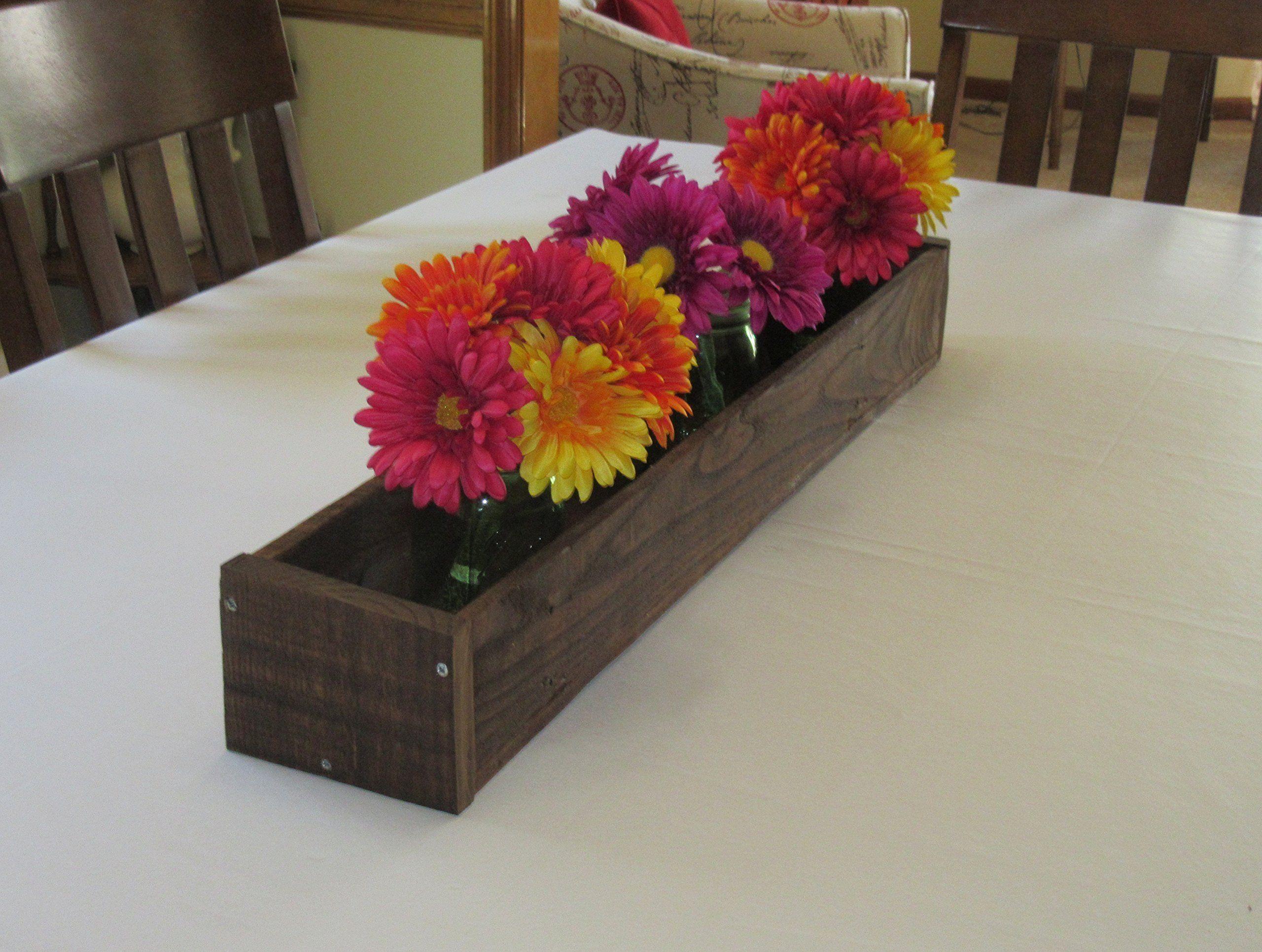 Stained wood planter box u mason jar centerpiece long wood box