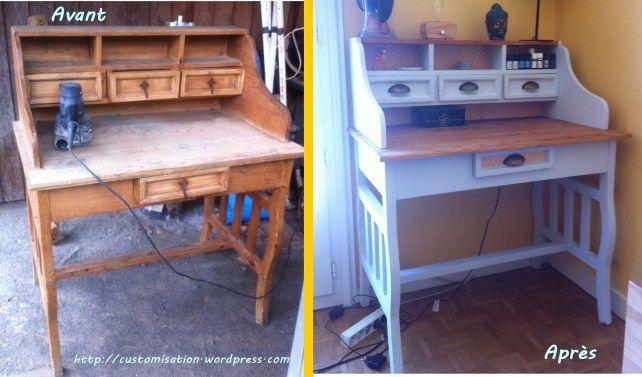 Rénovation customisation upcycling bureau bois mes diy pinterest