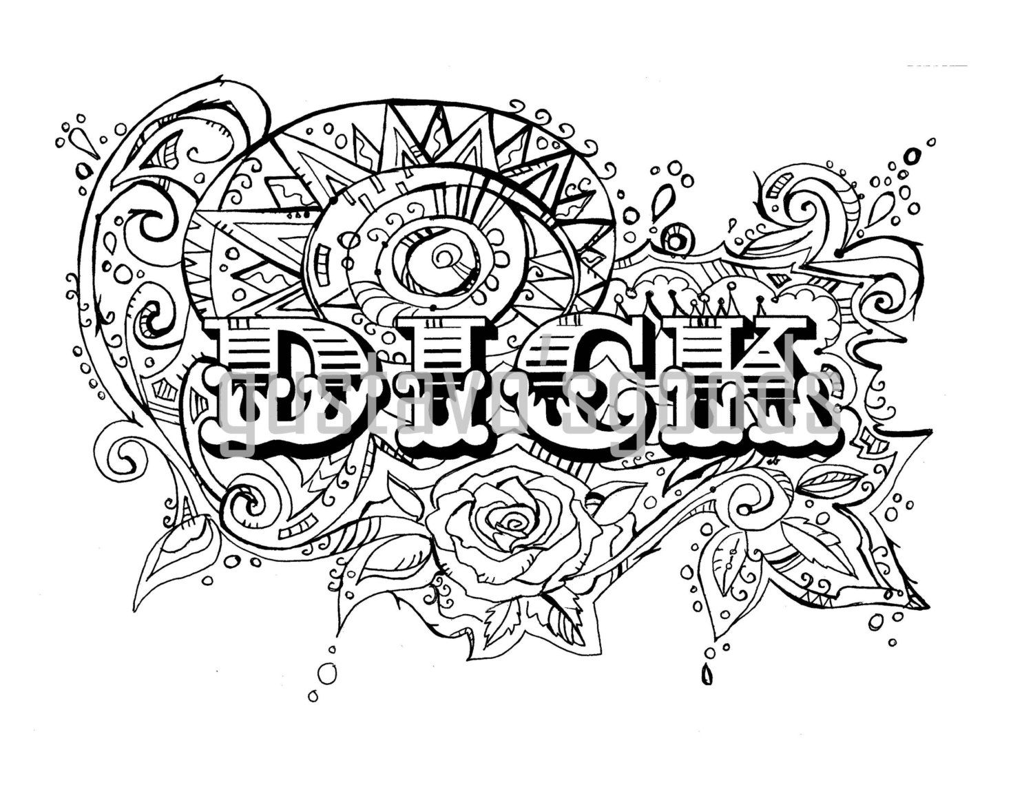 Swear Word Coloring Book Pages D Ck Curse Cuss