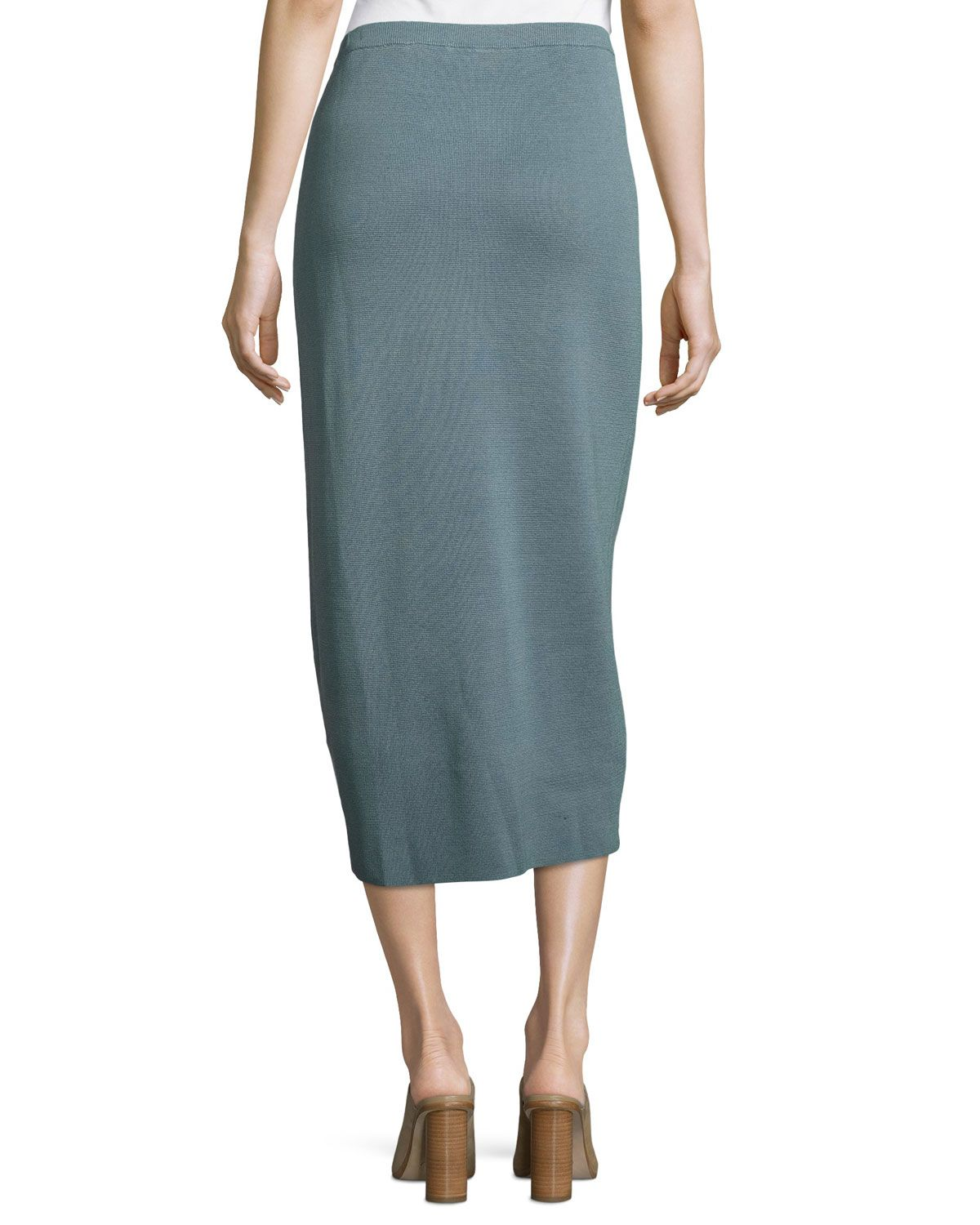 9644eb00ae Eileen Fisher Washable Silk/Cotton Midi Pencil Skirt, Blue Steel
