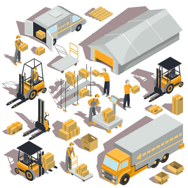 Logistics Warehouse Isometric Free Vector Clipart Desain Sekolah Militer